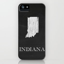 Indiana State Map Chalk Drawing iPhone Case