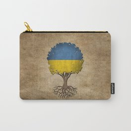 Vintage Tree of Life with Flag of Ukraine Carry-All Pouch