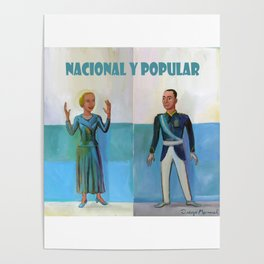 Evita y Juan Perón. Nacional y popular. Poster