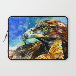 Golden Eagle And Butterfly by Kathy Morton Stanion Laptop Sleeve