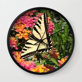 Swallowtail on Lantana Wall Clock