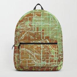 Denver Colorado map, year 1958, orange and green artwork Backpack