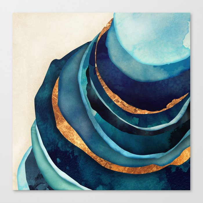Abstract Blue with Gold Leinwanddruck