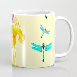 GOLDEN PURPLE IRIS & BLUE DRAGONFLIES Coffee Mug