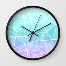 Cyan, Turquoise, and Purple Triangles Wall Clock