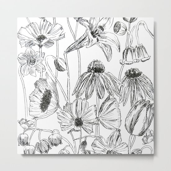 flower party black and white Metal Print
