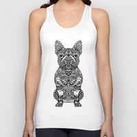 frenchie Tank Tops featuring Mandala Frenchie by Huebucket
