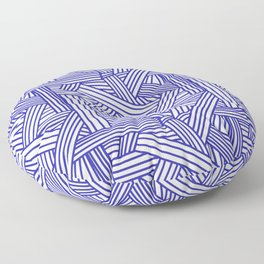 Sketchy Abstract (Navy Blue & White Pattern) Floor Pillow