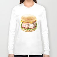 burger Long Sleeve T-shirts featuring Burger by Creadoorm