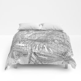 Vintage Map of Hamburg Germany (1910) 2 BW Comforters