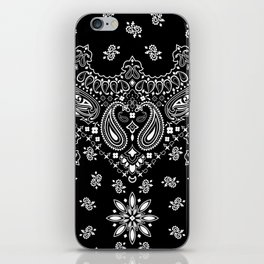black and white bandana pattern iPhone Skin