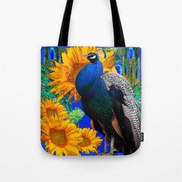 BLUE PEACOCK & GOLDEN SUNFLOWERS BLUE ART Tote Bag