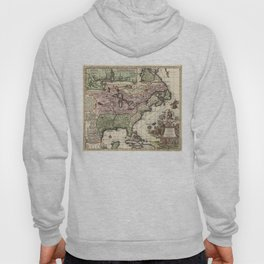 Vintage Map of America (1720) Hoody