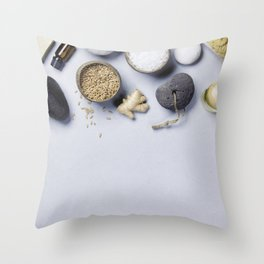 Natural SPA concept on grey concrete background Throw Pillow