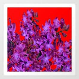 red color design amethyst purple hyacinth flowers art art print