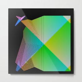 RGB (red gren blue) pixel grid planes crossing at right angles Metal Print