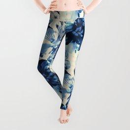 Shibori Inspired Oversized Indigo Floral Leggings