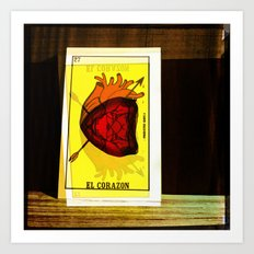 El Corazon/The Heart ;Loteria Art Print