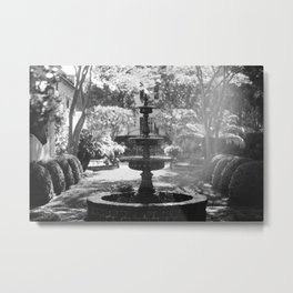 Charleston Black and White Fountain Metal Print