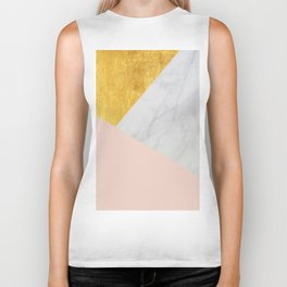 Carrara Marble with Gold and Pantone Pale Dogwood Color Biker Tank