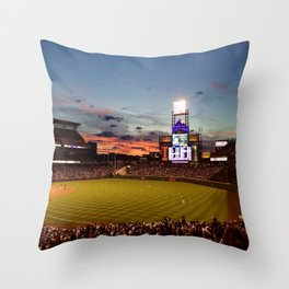 Denver Rockies 7, LA Dodgers 5, and Denver with a Beautiful Night Sky.  Throw Pillow
