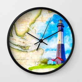 Tybee Island Lighthouse - Vintage Nautical Map Collage Wall Clock