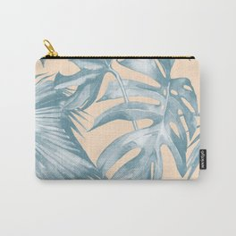 Tropical Leaves Ocean Blue on Citrus Carry-All Pouch