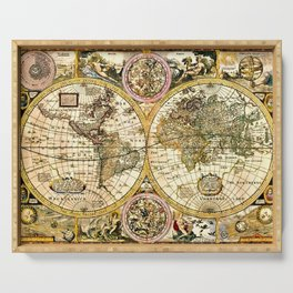 Gorgeous Old World Map Art from 15th Century Serving Tray