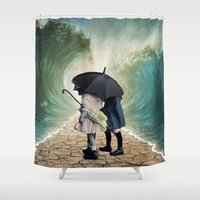 waves Shower Curtains featuring Waves by Cs025