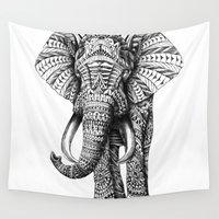 black Wall Tapestries featuring Ornate Elephant by BIOWORKZ