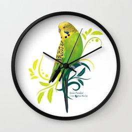 Green Parakeet Wall Clock