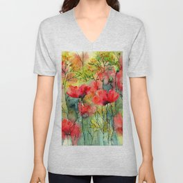 The Poppies Grow Unisex V-Neck