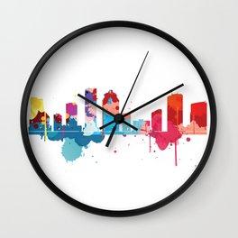 Houston Cityscape Watercolor Wall Clock