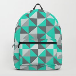 Aqua and Grey Retro Inspired Pattern Backpack