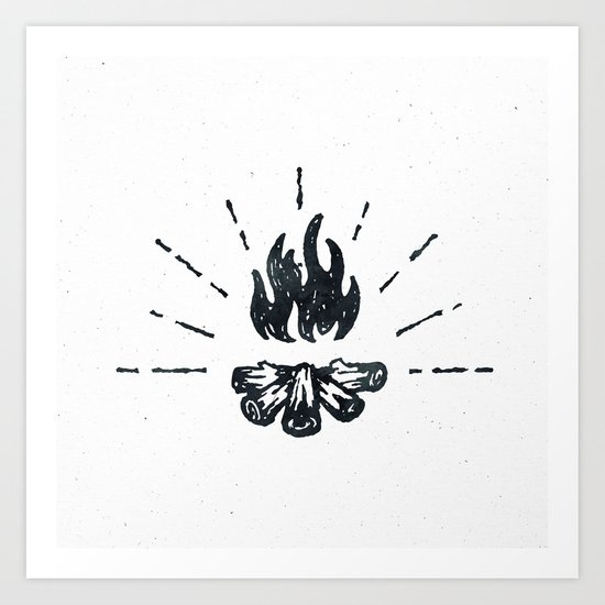 Campfire Black and White Flames Vintage Art Print