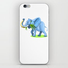 Blue Elephant Cartoon Artwork iPhone Skin