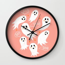 Friendly Ghosts in Pink Wall Clock