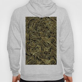 Black and gold ethnic paisley pattern Hoody