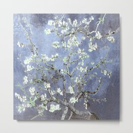 Vincent Van Gogh Almond Blossoms : Steel Blue & Gray Metal Print