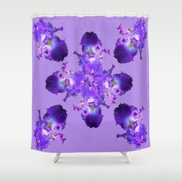 Purple Iris Abstract  Collage Art Shower Curtain