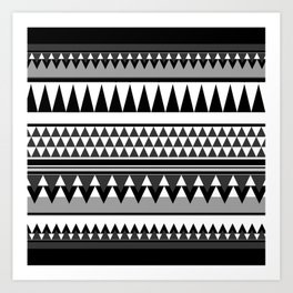 TRIBAL BOHEMIAN BLACK AND WHITE Art Print