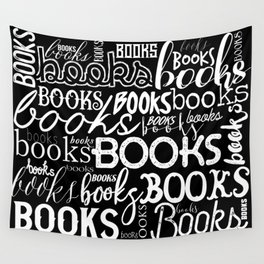 Books Books Books - White on Black Wall Tapestry