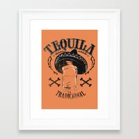 tequila Framed Art Prints featuring Tequila Tradicional by Tshirt-Factory