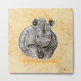 Swirly Rhino Metal Print