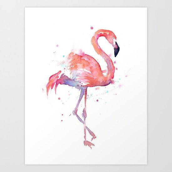 Pink Flamingo Watercolor   Tropical Animals Bird Flamingos Art Print