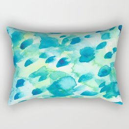 Blue, Green and Aqua Abstract Watercolor Painted Spots Rectangular Pillow