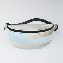 Abstract Paint Stripes Gold Tropical Ocean Sea Turquoise Fanny Pack