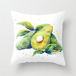 Avocados - Watercolor Throw Pillow