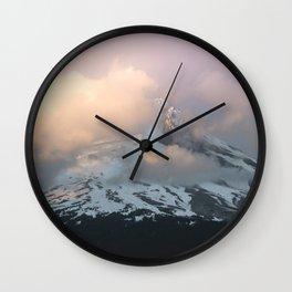 Pink Fog Mountain Morning Wall Clock