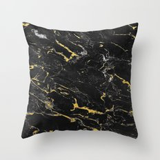 Gold Flecked Black Marble Throw Pillow